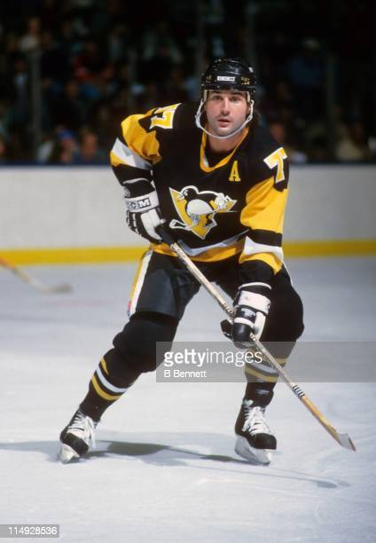 Paul Coffey of the Pittsburgh Penguins skates on the ice during an NHL game in January 1991