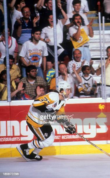 Paul Coffey of the Pittsburgh Penguins skates on the ice during Game 2 of the 1991 Stanley Cup Finals against the Minnesota North Stars on May 17...