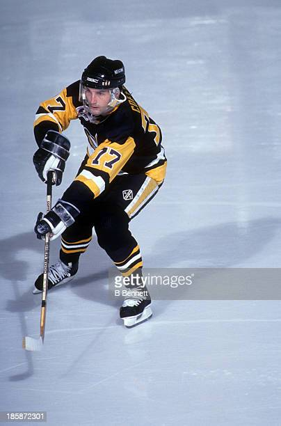 Paul Coffey of the Pittsburgh Penguins skates on the ice during Game 3 of the 1991 Stanley Cup Finals against the Minnesota North Stars on May 19...