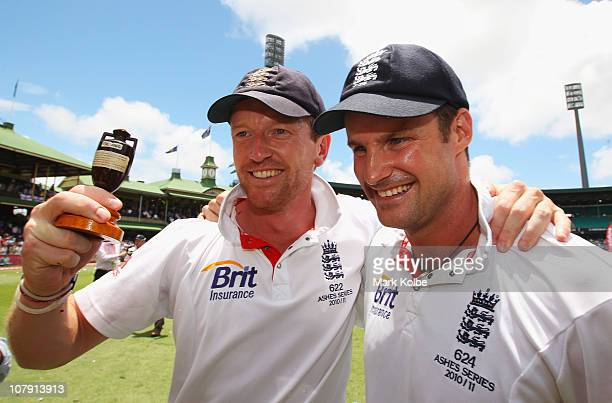 Paul Collingwood and Andrew Strauss of England celebrate with the Ashes urn after their 31 series win after day five of the Fifth Ashes Test match...