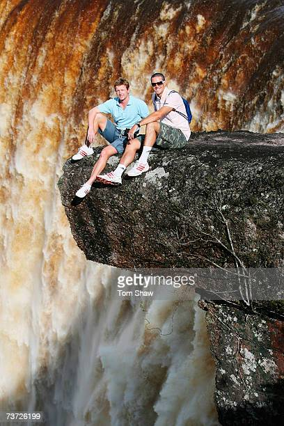 Paul Collingwood and Kevin Pietersen of England pose during a visit to the Kaieteur Falls on March 27 2007 in Kaieteur Guyana