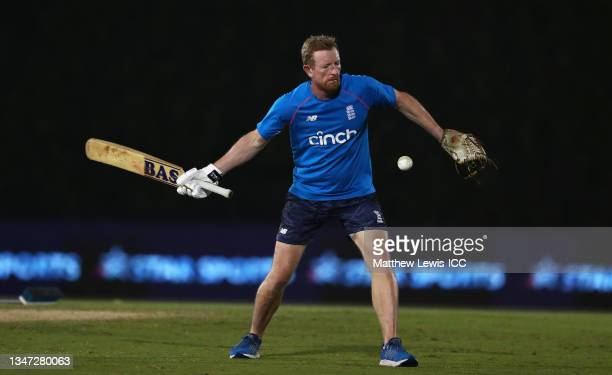 Paul Collingwood, Coach of England during the India and England warm Up Match prior to the ICC Men's T20 World Cup at on October 18, 2021 in Dubai,...