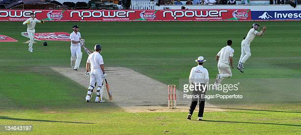 Paul Collingwood is caught by Simon Katich off Mitchell Johnson England v Australia 5th Test The Oval Aug 09