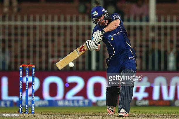 Paul Collingwood of Capricorn Commanders bats during the Oxigen Masters Champions League match between Capricorn Commanders and Libra Legends on...