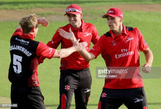 Paul Collingwood of Durham and Paul Coughlin of Durham celebrate during the NatWest T20 blast between Yorkshire Vikings and Durham at Headingley on...