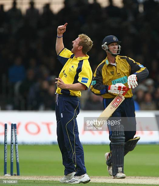 Paul Collingwood of Durham celebrates taking the wicket of John Crawley of Hampshire during the Friends Provident Trophy Final between Hampshire...