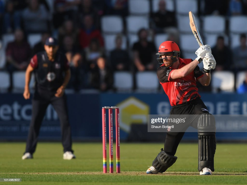 Paul Collingwood of Durham Jets is out for 16 during the Vitality Blast match between Northamptonshire Steelbacks and Durham Jets at The County Ground on August 10, 2018 in Northampton, England.