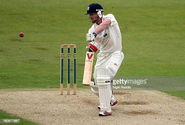 Paul Collingwood of Durham plays a shot during day one of the LV County Championship Division One match between Durham and Nottinghamshire at the...