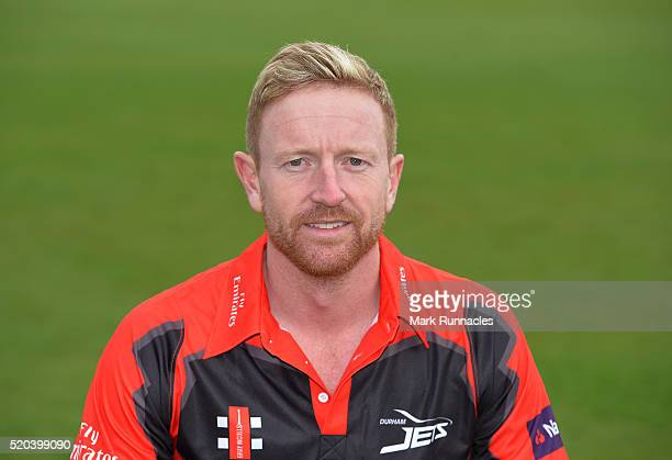 Paul Collingwood of Durham poses for a photograph in the T20 kit during the Durham County Cricket Club photocall at the Riverside on April 8 2016 in...