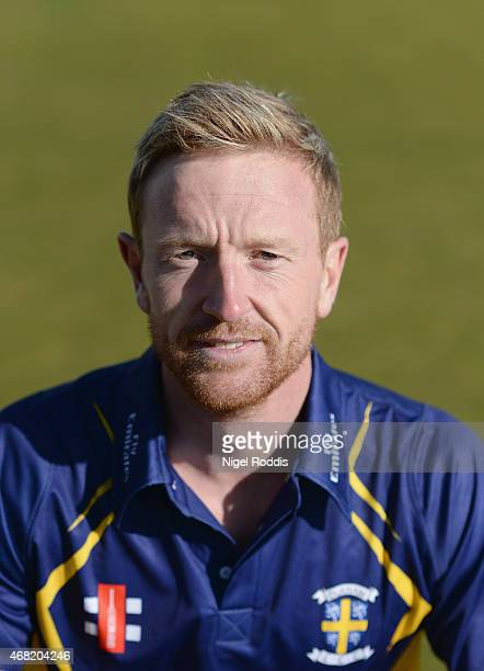 Paul Collingwood of Durham poses for a portrait during the Durham CCC Photocall at The Riverside on March 31 2015 in ChesterleStreet England