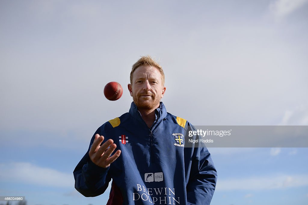Paul Collingwood of Durham poses for a portrait during the Durham CCC Photocall at The Riverside on March 31, 2015 in Chester-le-Street, England.