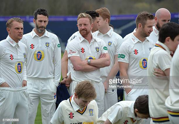 Paul Collingwood of Durham waits for the Durham County Cricket Club photocall at the Riverside on April 8 2016 in ChesterLeStreet England