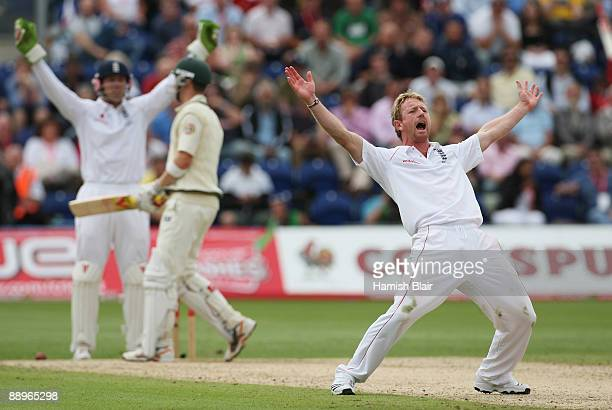 Paul Collingwood of England appeals unsuccessfully for the wicket of Michael Clarke of Australia during day three of the npower 1st Ashes Test Match...