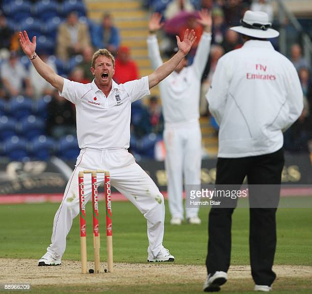 Paul Collingwood of England appeals unsuccessfully for the wicket of Marcus North of Australia during day three of the npower 1st Ashes Test Match...
