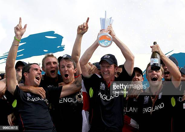 Paul Collingwood of England celebrates with the series trophy after winning the final of the ICC World Twenty20 between Australia and England at the...