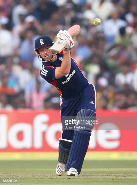 Paul Collingwood of England faces the bowling of Yovraj Singh during the 5th One Day International between India and England played at The Barabati...