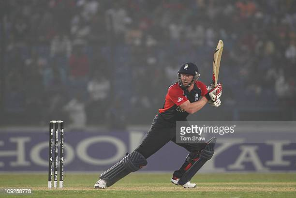 Paul Collingwood of England hits out during the 2011 ICC World Cup Warm Up Game between England and Pakistan at the Khan Shaheb Osman Ali Stadium on...