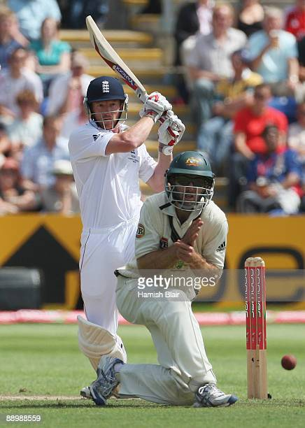 Paul Collingwood of England hits out past Simon Katich of Australia during day five of the npower 1st Ashes Test Match between England and Australia...