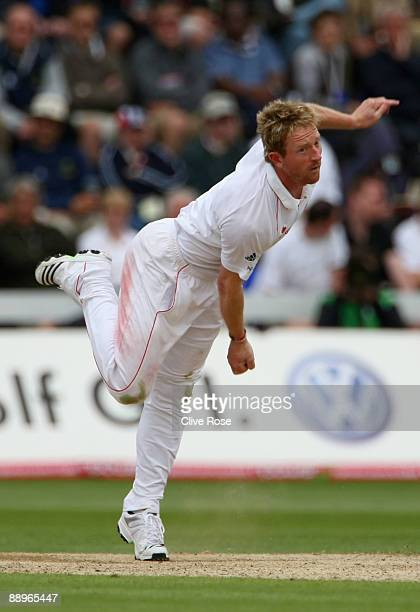 Paul Collingwood of England in action during day three of the npower 1st Ashes Test Match between England and Australia at the SWALEC Stadium on July...