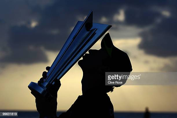 Paul Collingwood of England kisses the ICC World Twenty20 trophy on the beach after the final of the ICC World Twenty20 between Australia and England...