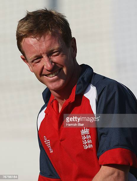 Paul Collingwood of England laughs during a nets session at Kingsmead on September 17 2007 in Durban South Africa