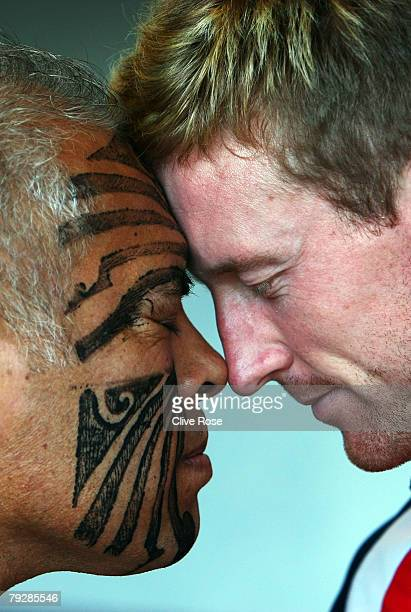 Paul Collingwood of England participates in the traditional Maori welcome ceremony at the team hotel on January 28 2008 in Christchurch New Zealand