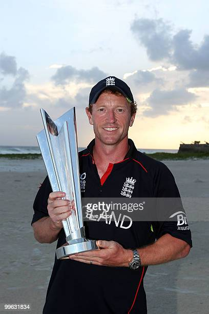 Paul Collingwood of England poses with the ICC World Twenty20 trophy on the beach after the final of the ICC World Twenty20 between Australia and...