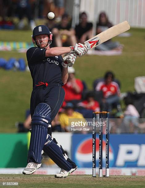 Paul Collingwood of England pulls during the ICC Champions Trophy 1st Semi Final match between Australia and England played at Supersport Park on...