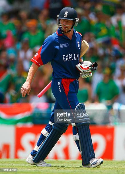Paul Collingwood of England walks back after being dismissed by Andrew Hall of South Africa during the ICC Cricket World Cup Super Eights match...