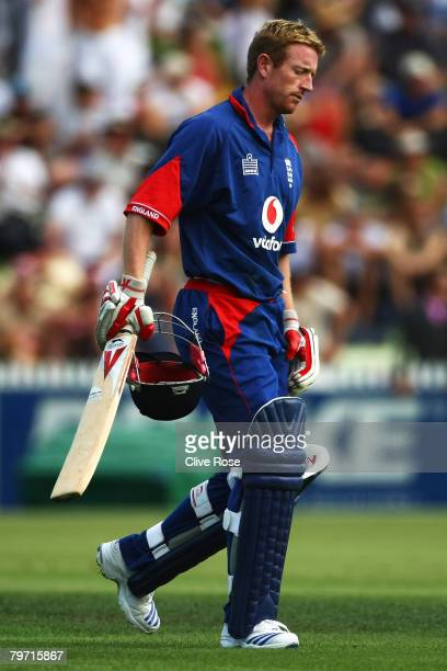 Paul Collingwood of England walks off after being run out during the second National Bank series One Day International match between New Zealand and...