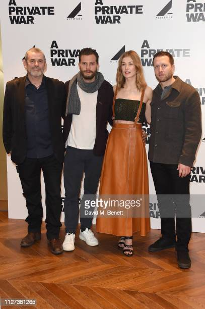 Paul Conroy Jamie Dornan Rosamund Pike and Matthew Heineman attend a special QA screening of A Private War at Odeon Leicester Square on February 04...