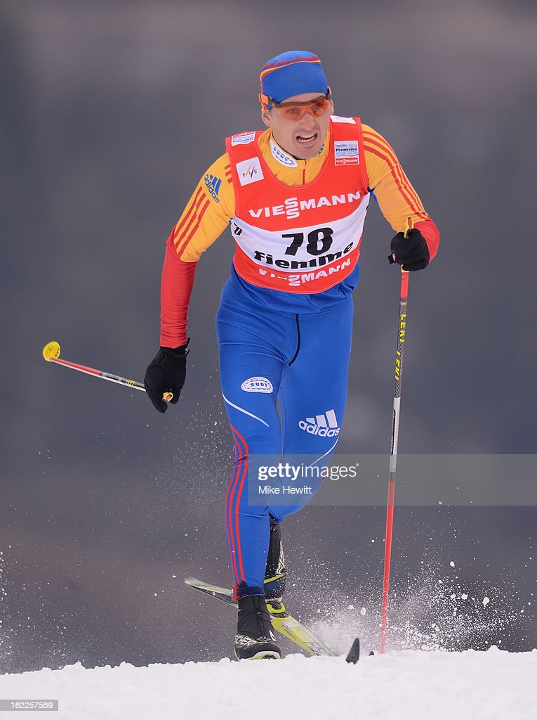 Paul Constantin Pepene of Romania competes during the Men's Cross Country 1.5km Classic Sprint Qualification at the FIS Nordic World Ski Championships on February 21, 2013 in Val di Fiemme, Italy.