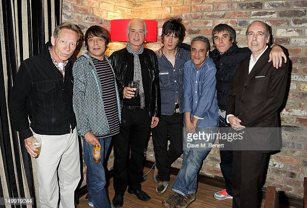 Paul Cook Gary 'Mani' Mounfield Jimmy Page John Squire Alan 'Reni' Wren Ian Brown and Mick Jones attend as The Stone Roses perform a secret gig at...