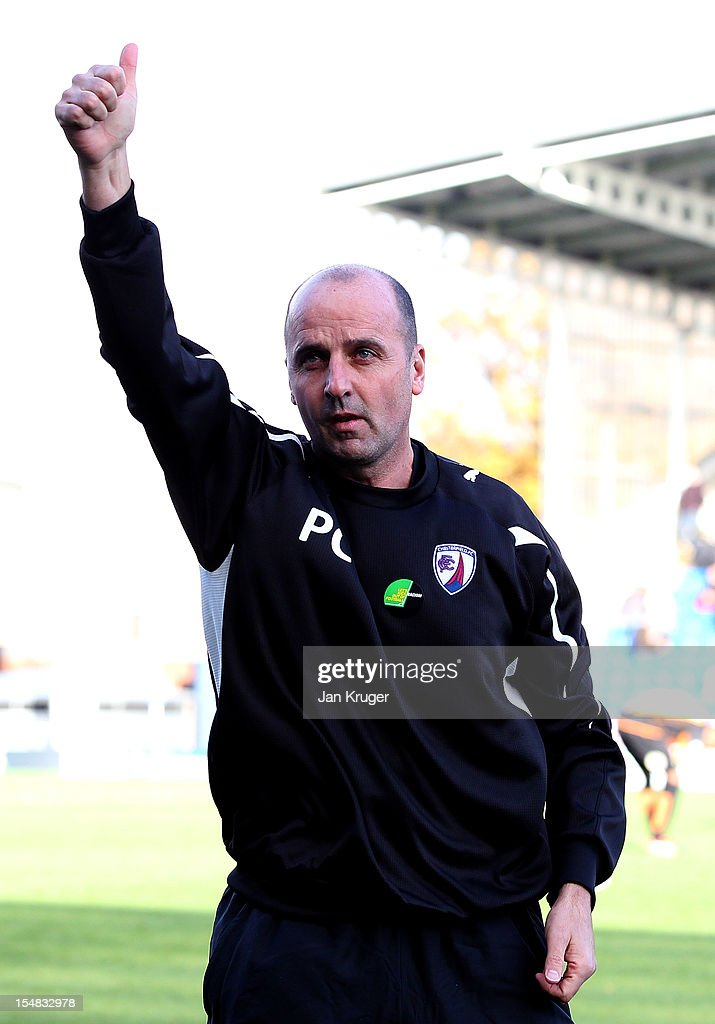 Paul Cook, Manager of Chesterfield during the npower League Two match between Chesterfield and Barnet at Proact Stadium on October 27, 2012 in Chesterfield, England.