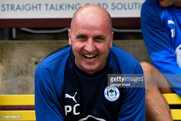 Paul Cook manager of Wigan Athletic reacts during the Pre-Season Friendly match between Bradford City and Wigan athletic at Utilita Energy Stadium on...