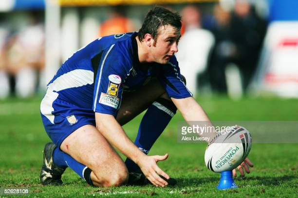 Paul Cooke of Hull lines up a kick at goal during the Powergen Challenge Cup fourth round match between Wakefield Trinity Wildcats and Hull at the...