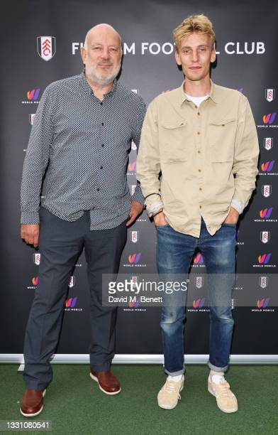 Paul Cooper and Charlie Cooper attend a brunch to celebrate the partnership between World Mobile and Fulham FC at Craven Cottage on July 28, 2021 in...