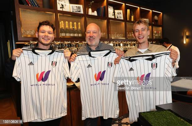 Paul Cooper, Sean Delaney and Charlie Cooper attend a brunch to celebrate the partnership between World Mobile and Fulham FC at Craven Cottage on...