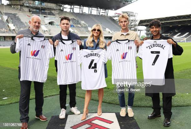 Paul Cooper, Sean Delaney, Ashley Roberts, Charlie Cooper and Karim Zeroual attend a brunch to celebrate the partnership between World Mobile and...