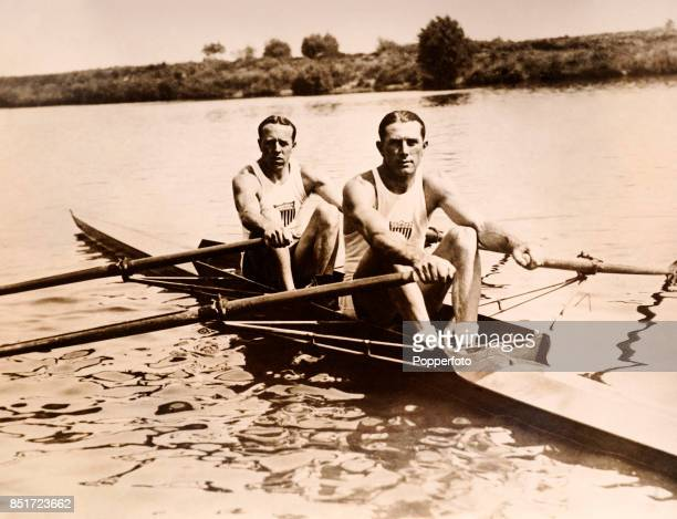 Paul Costello and Jack Kelly of the USA gold medallists in the men's double sculls event during the Summer Olympic Games in Paris circa July 1924...