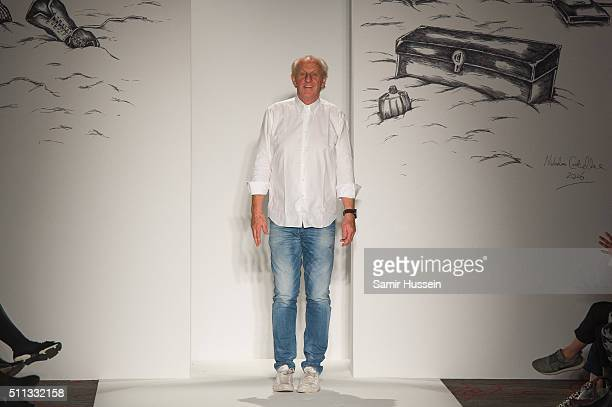 Paul Costelloe walks the catwalk presentation during London Fashion Week Autumn/Winter 2016/17 at Le Meridien Piccadily on February 19 2016 in London...