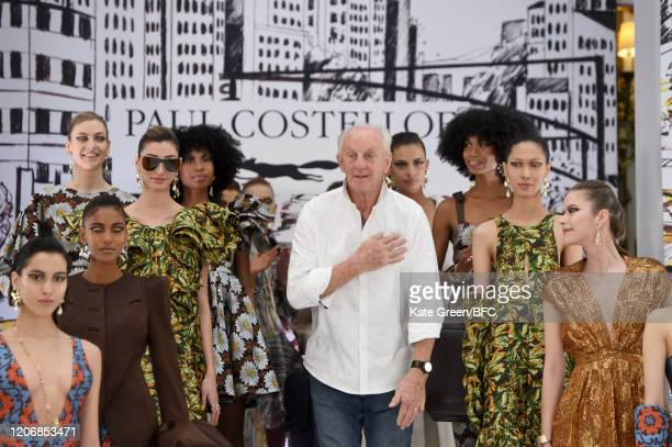 Paul Costelloe walks the runway at the Paul Costelloe Presentation during London Fashion Week February 2020 at the The Waldorf London on February 17...