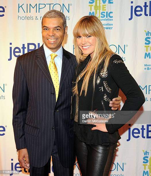 Paul Cothran Executive Director of the VH1 Save the Music Foundation and Grace Potter of Grace Potter and the Nocturnals attend the JetBlue Airways...
