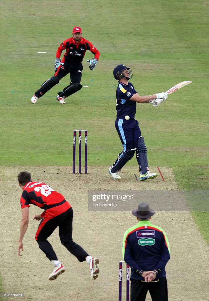 Paul Coughlin of Durham (L) bowls into the stomach of Steven Patterson of Yorkshire during the NatWest T20 Blast game between Durham Jets and Yorkshire Vikings at Emirates Durham ICG on June 24, 2016 in Chester-le-Street, England.