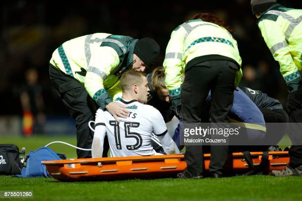 Paul Coutts of Sheffield United looks up before being taken from the field on a stretcher with a broken leg during the Sky Bet Championship match...
