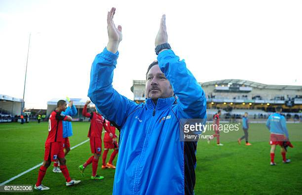 Paul Cox Manager of Barrow FC celebrates victory during the Emirates FA Cup Second Round match between Bristol Rovers and Barrow FC at the Memorial...