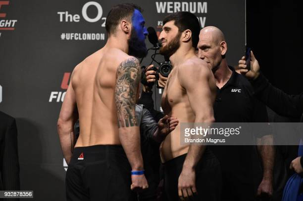 Paul Craig of Scotland and Magomed Ankalaev of Russia face off during the UFC Fight Night weighin inside The O2 Arena on March 16 2018 in London...