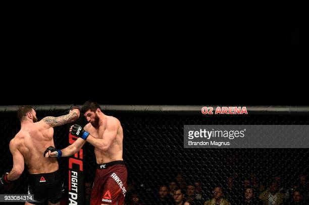 Paul Craig of Scotland punches Magomed Ankalaev in their light heavyweight bout inside The O2 Arena on March 17 2018 in London England