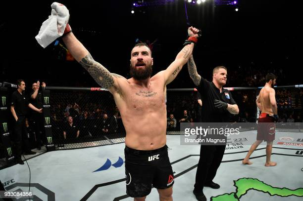 Paul Craig of Scotland reacts after defeating Magomed Ankalaev by submission in their light heavyweight bout inside The O2 Arena on March 17 2018 in...