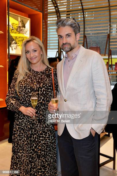 Paul Croughton and SarahAnn Murray attend the launch party of Moynat at Selfridges on May 9 2018 in London England